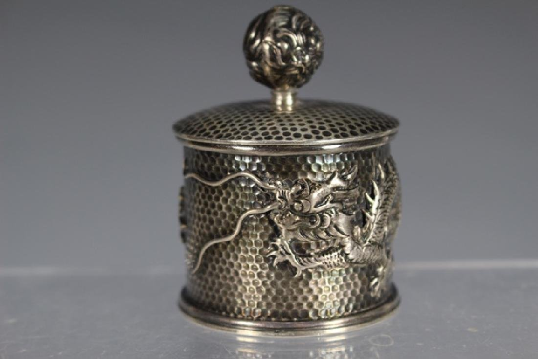 Chinese Dragon Sterling Silver Jar - 2