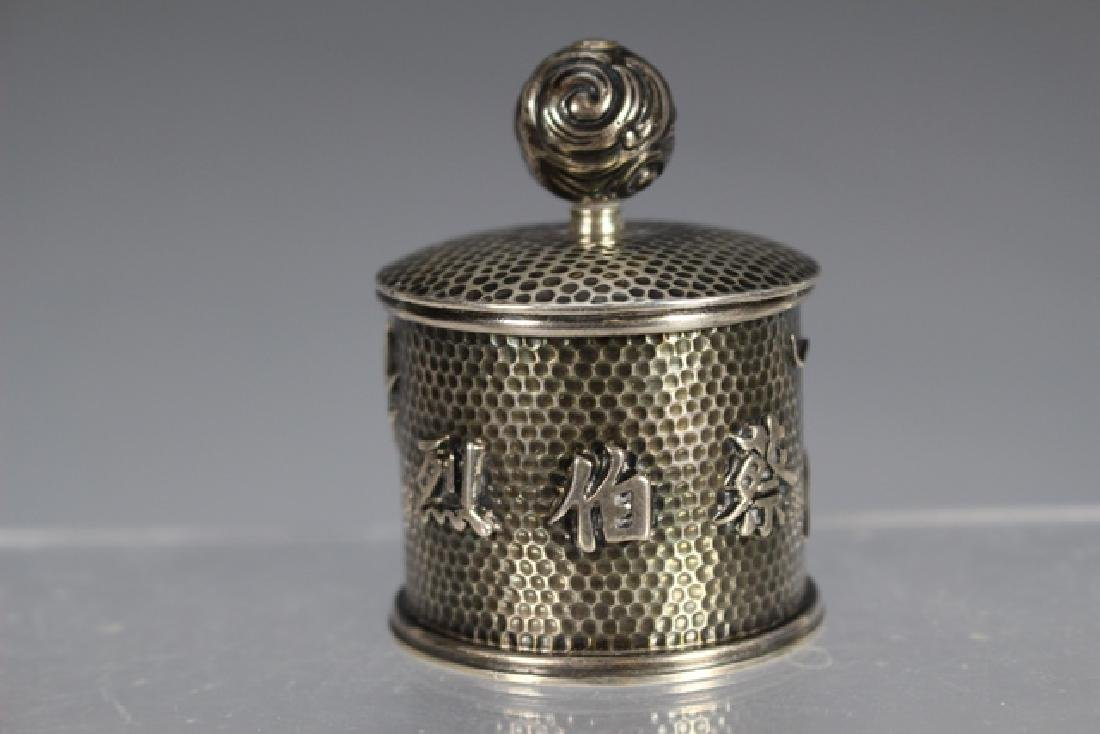 Chinese Dragon Sterling Silver Jar - 3