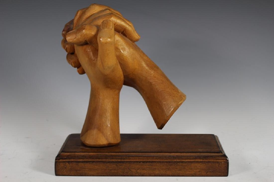 """Carved Zirbel Wood Statue """"Clasped Hands"""""""