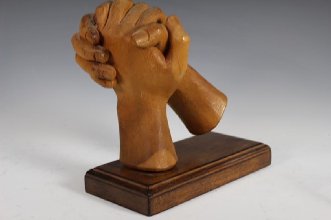 """Carved Zirbel Wood Statue """"Clasped Hands"""" - 2"""