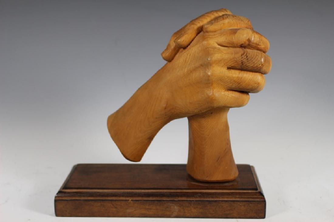 """Carved Zirbel Wood Statue """"Clasped Hands"""" - 3"""