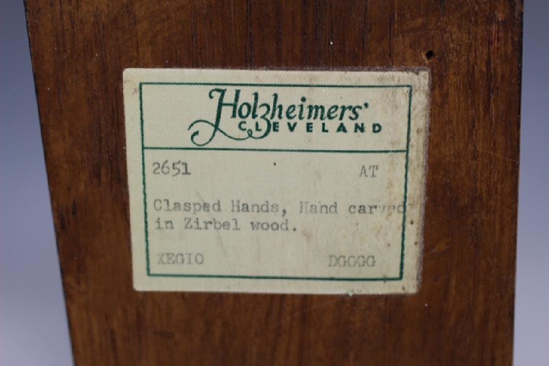 """Carved Zirbel Wood Statue """"Clasped Hands"""" - 6"""