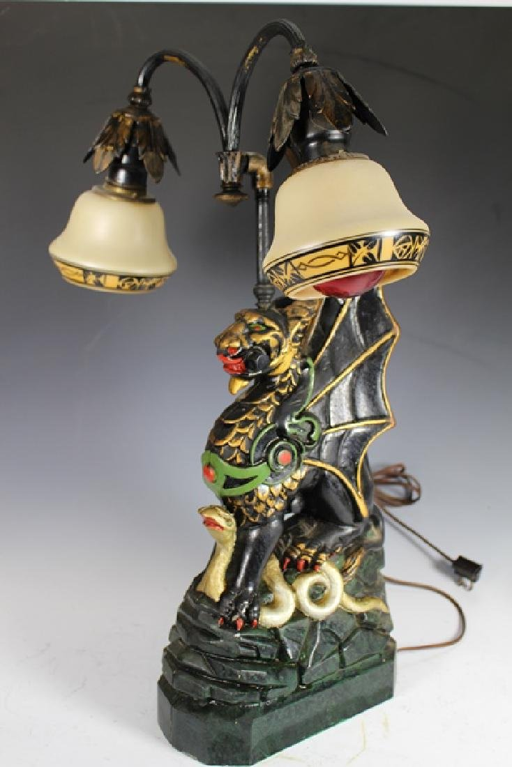 Mid Century Cast Dragon Student Lamp - 3