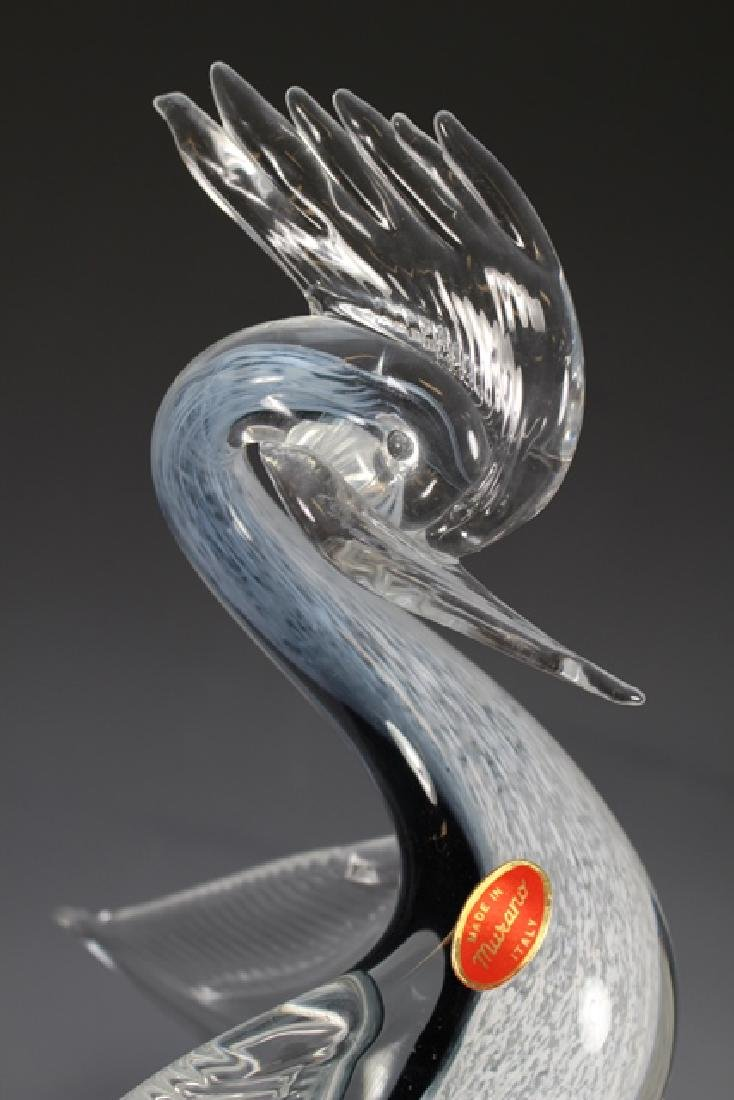 Italian Murano Art Glass Crested Bird - 2