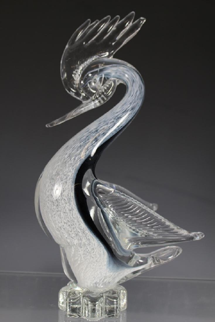 Italian Murano Art Glass Crested Bird - 4