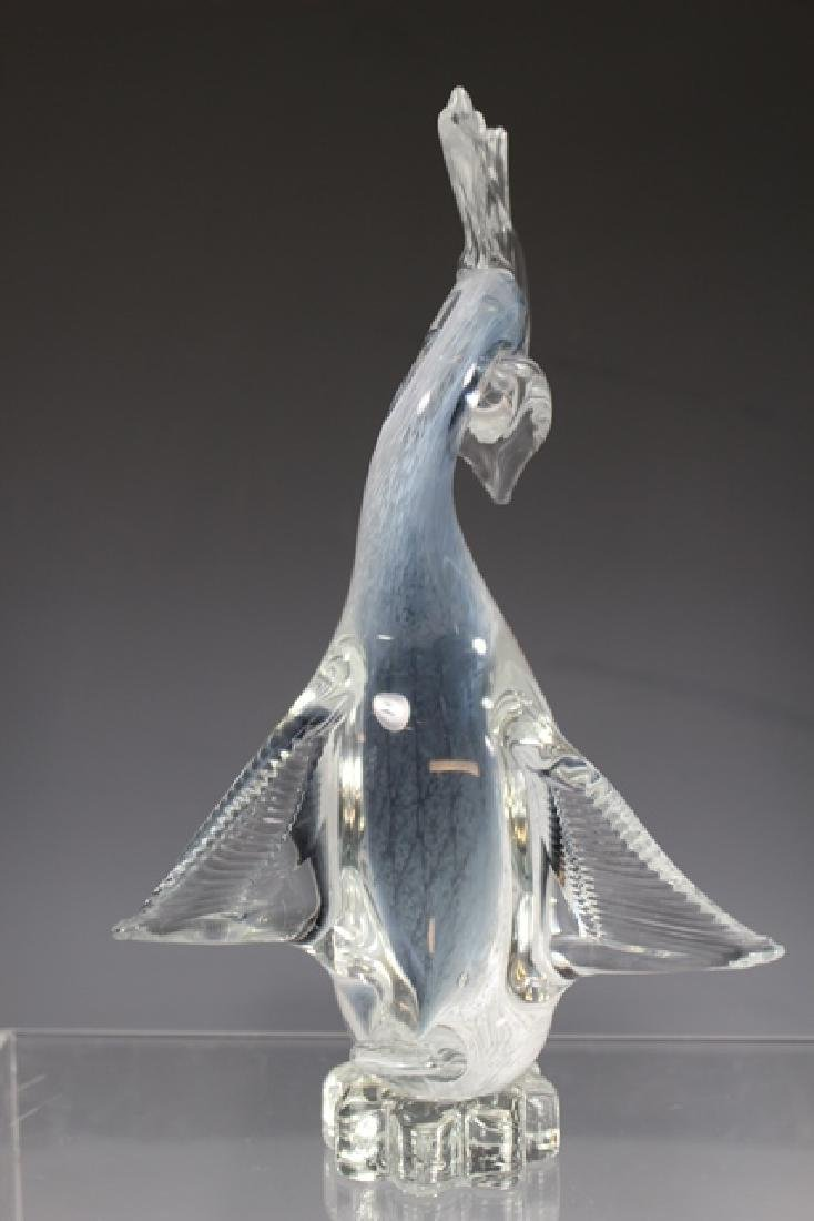 Italian Murano Art Glass Crested Bird - 5