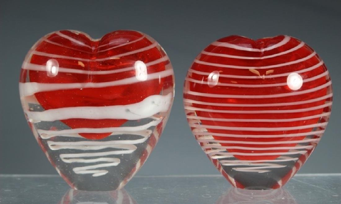 Two Thread Art Glass Heart Vases - 2