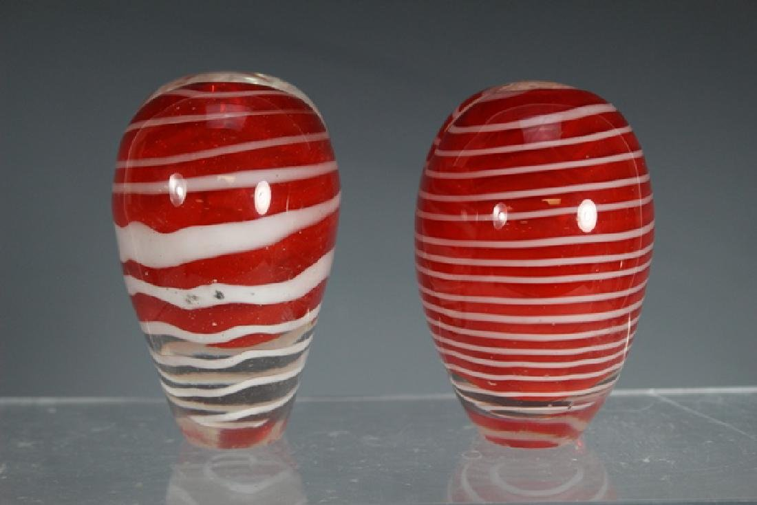 Two Thread Art Glass Heart Vases - 3