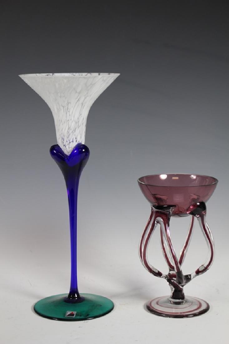 Two Studio Art Glass Stems