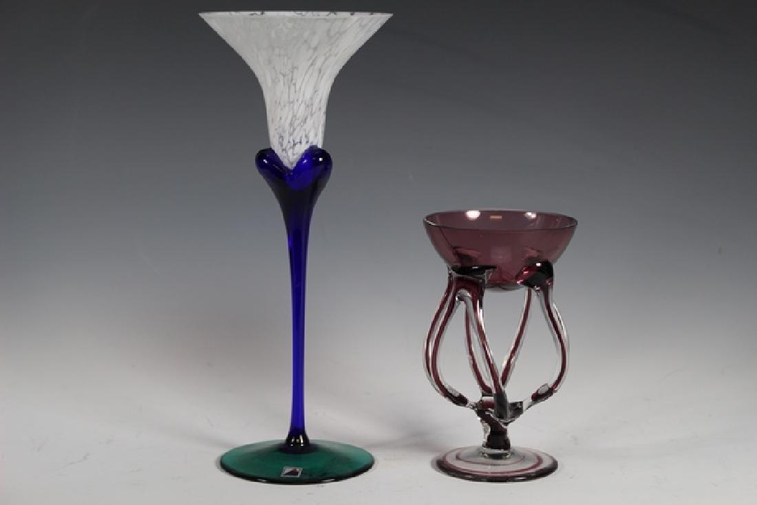 Two Studio Art Glass Stems - 2