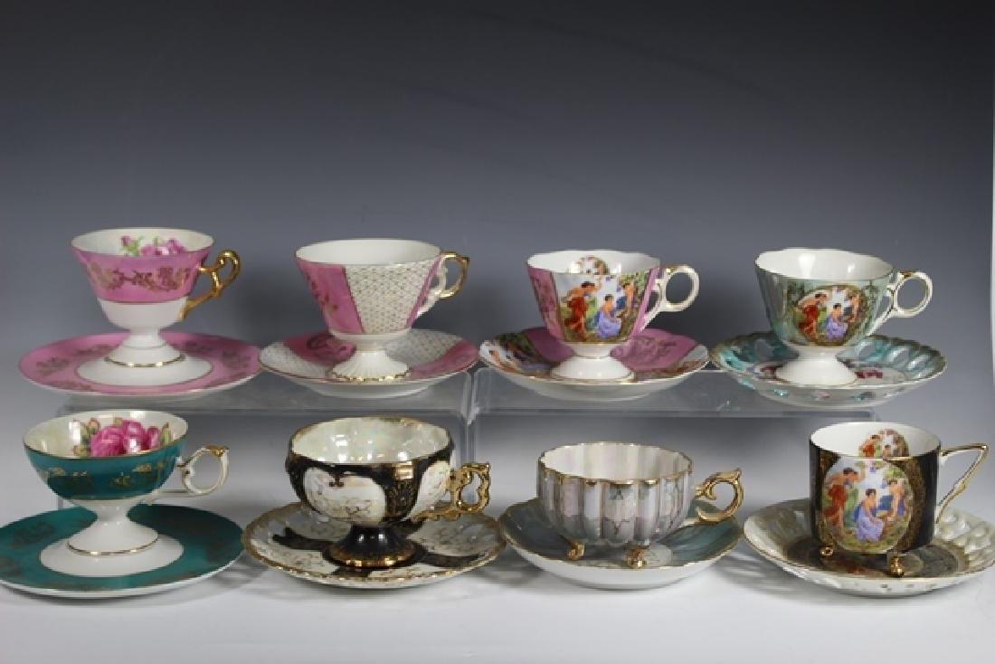 Eight Chocolate Cups and Saucers