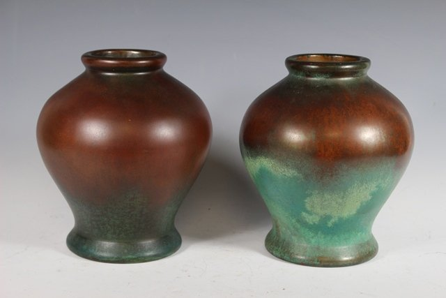 Pair of  CLEWELL Pottery  Arts and Crafts Copper-Clad