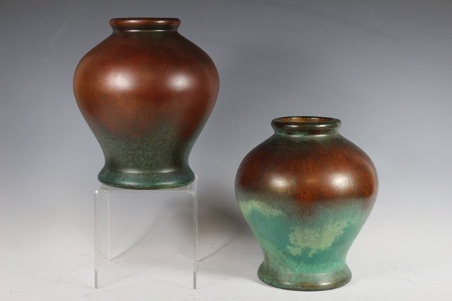 Pair of  CLEWELL Pottery  Arts and Crafts Copper-Clad - 2