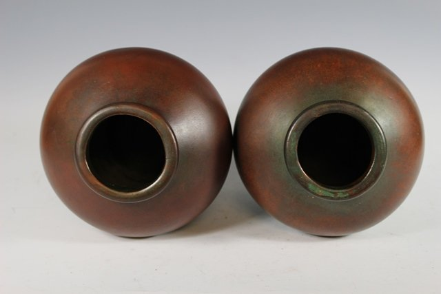 Pair of  CLEWELL Pottery  Arts and Crafts Copper-Clad - 8