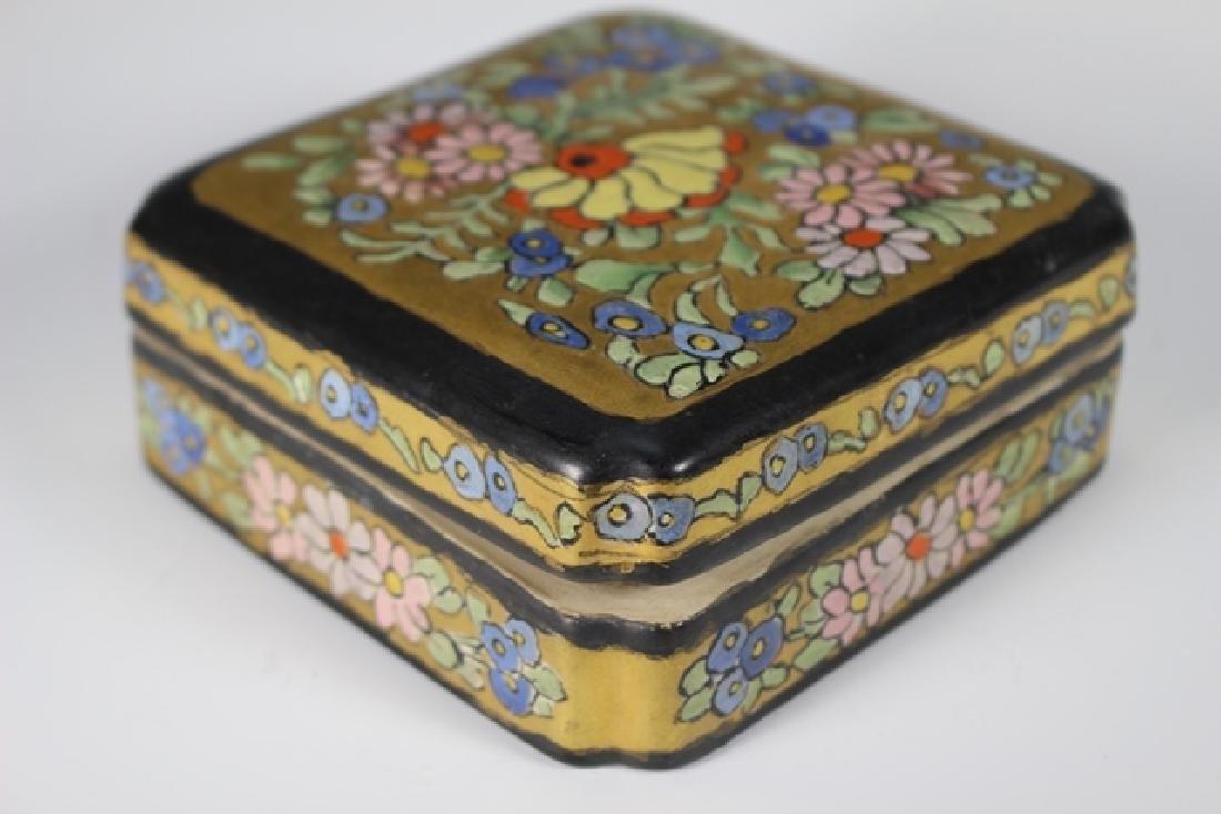 Art Deco Pottery Lidded Dresser Dish - 8