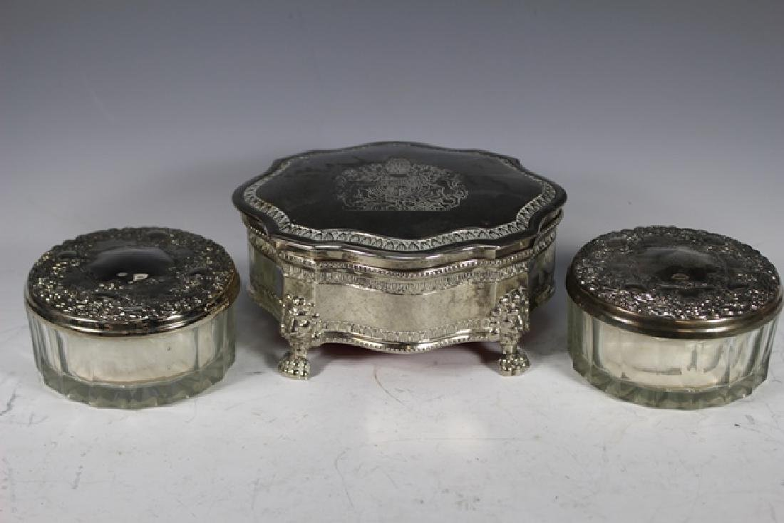 English Claw foot Dresser Box and 2 Powder Dishes