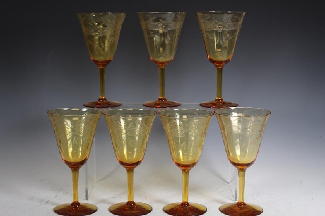 Eighteen (18) Amber Wheel Cut Wine Glasses