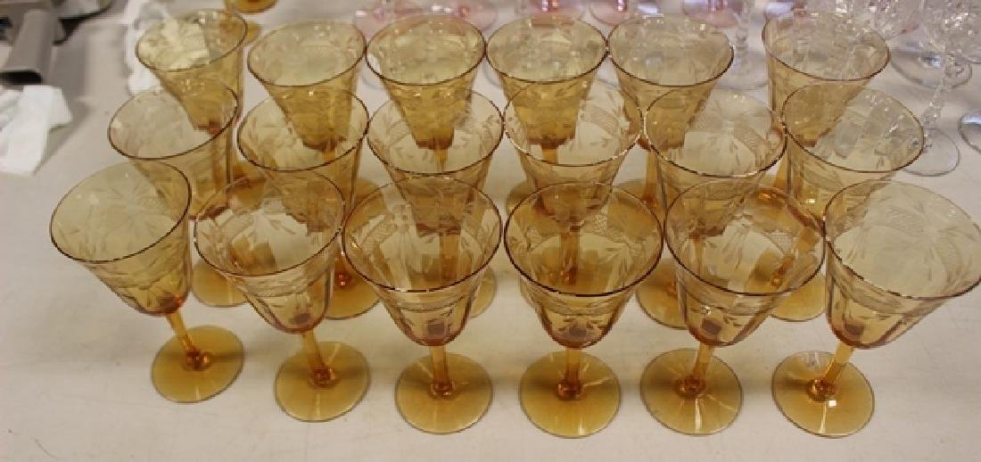 Eighteen (18) Amber Wheel Cut Wine Glasses - 4