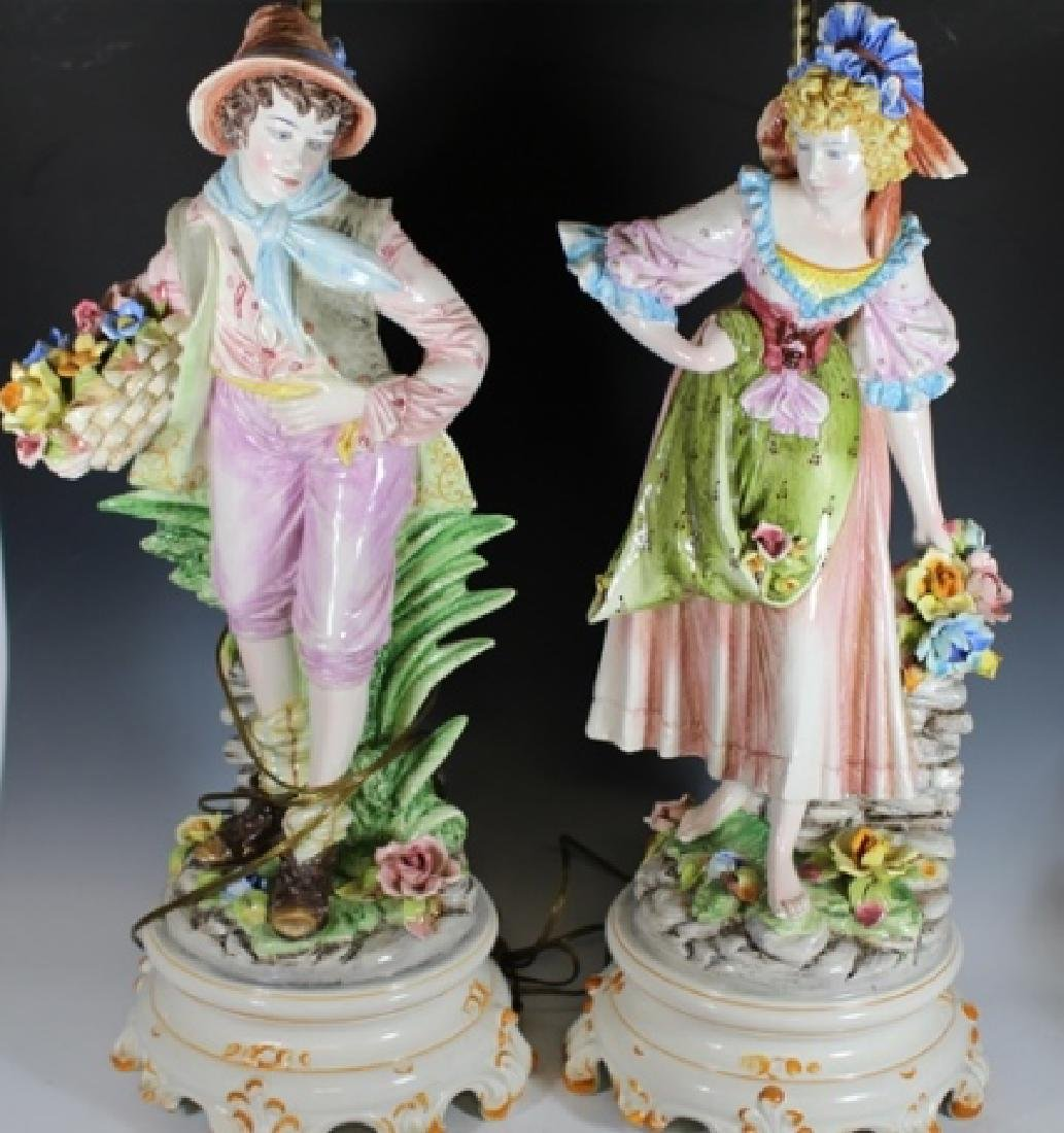 Pair of Signed Capodimonte Figural Lamps