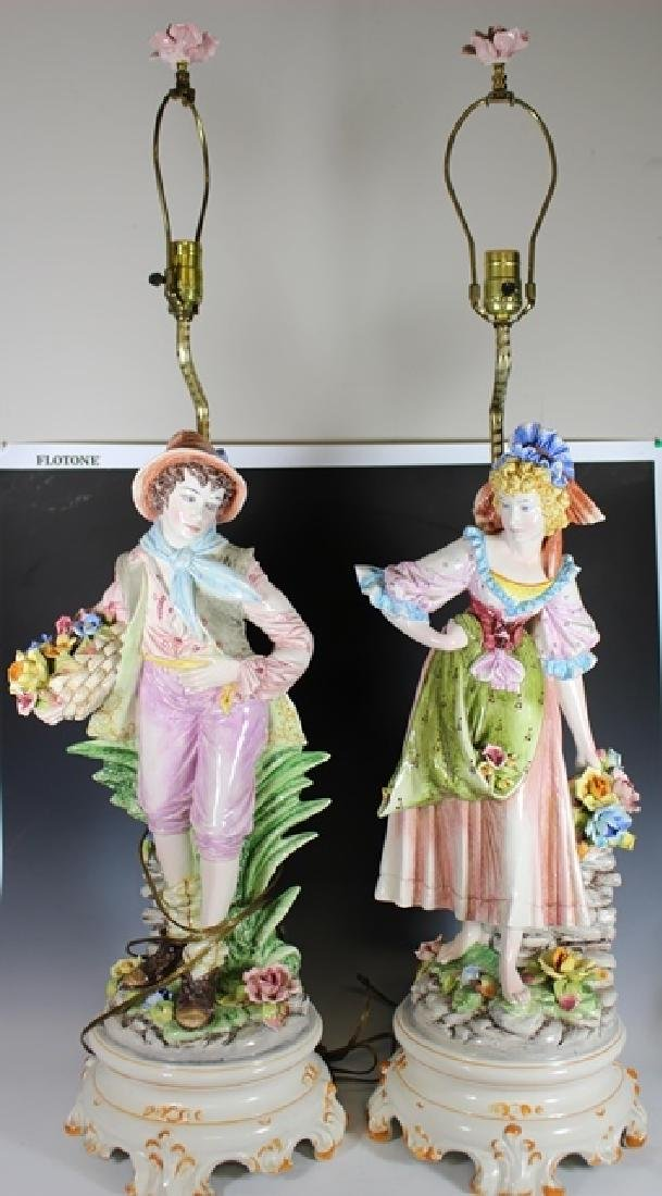 Pair of Signed Capodimonte Figural Lamps - 2