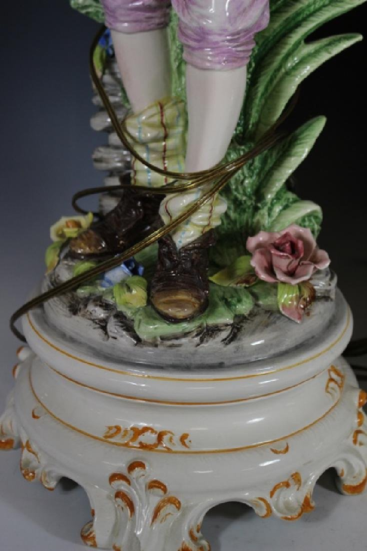 Pair of Signed Capodimonte Figural Lamps - 4