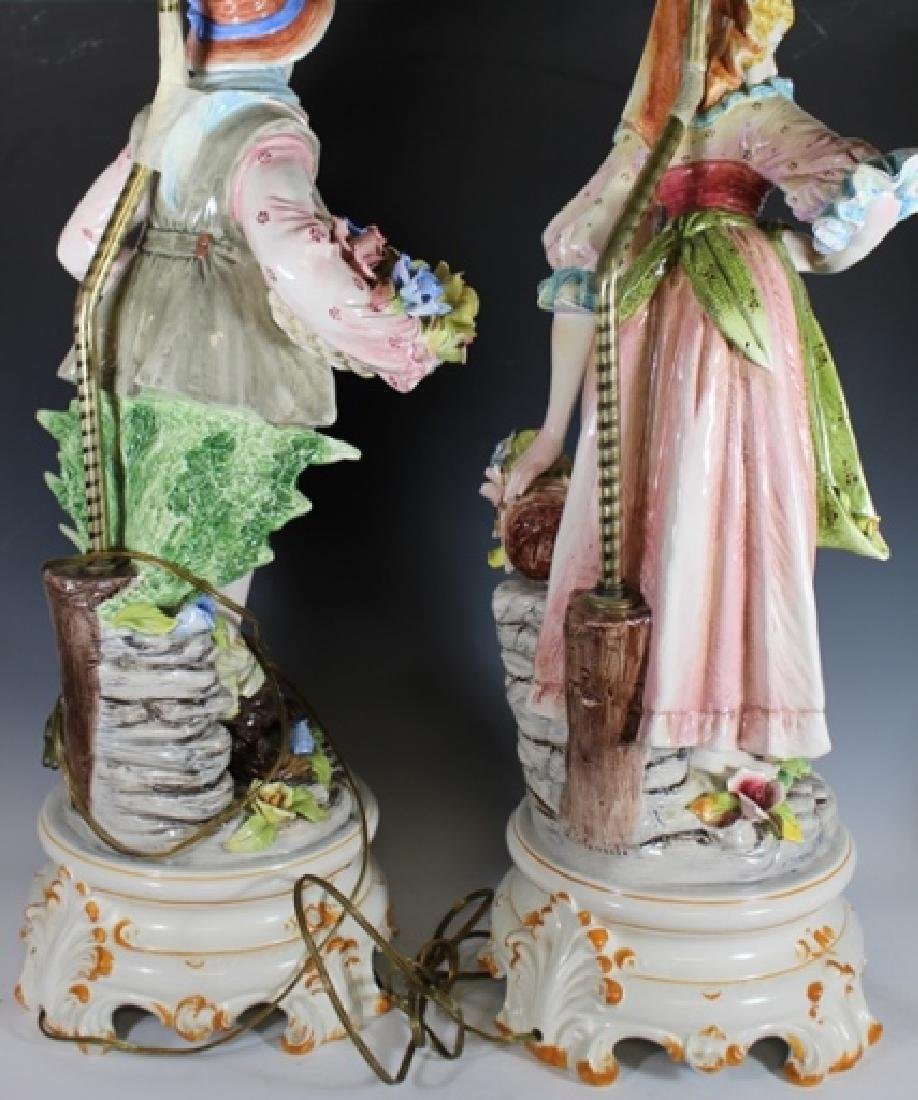 Pair of Signed Capodimonte Figural Lamps - 6