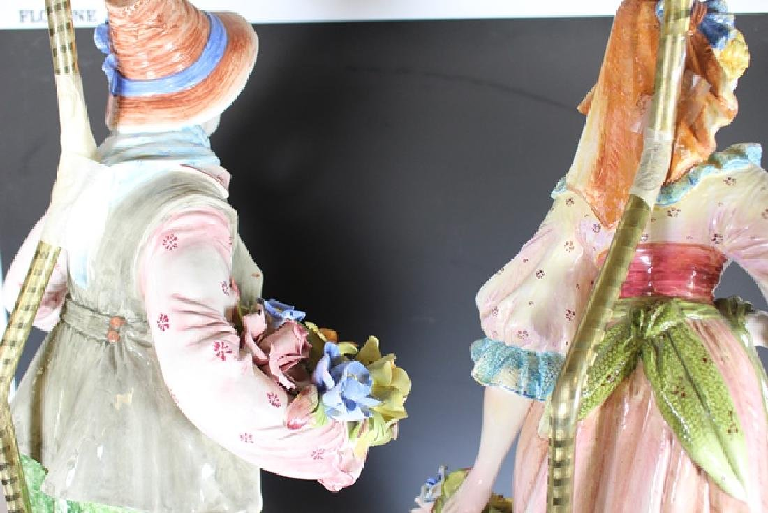 Pair of Signed Capodimonte Figural Lamps - 8