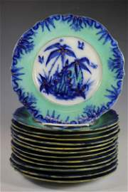 "Thirteen Mid 19th Century SAU Co. ""Bamboo"" Plates"