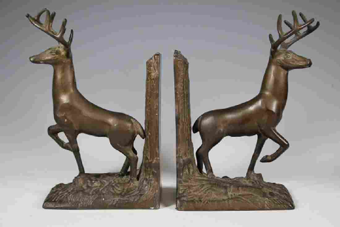 Pair of Stag Bronze Patinated Bookends