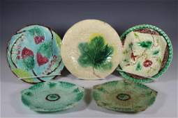 Collection of Five Majolica Dessert Plates