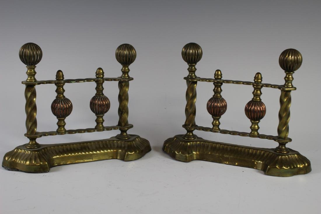 Pair of Brass Fireplace Tool Rests