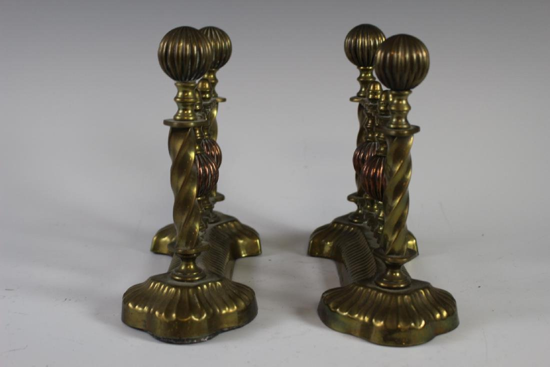 Pair of Brass Fireplace Tool Rests - 2