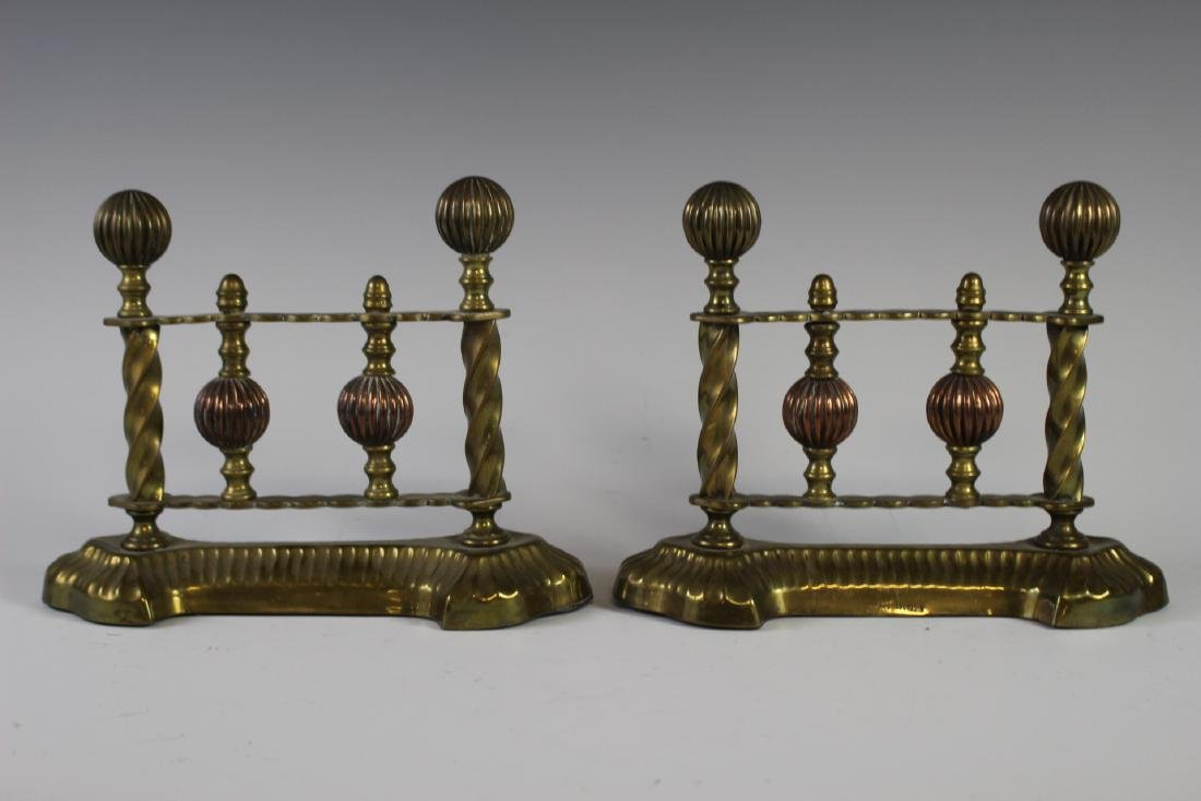 Pair of Brass Fireplace Tool Rests - 3