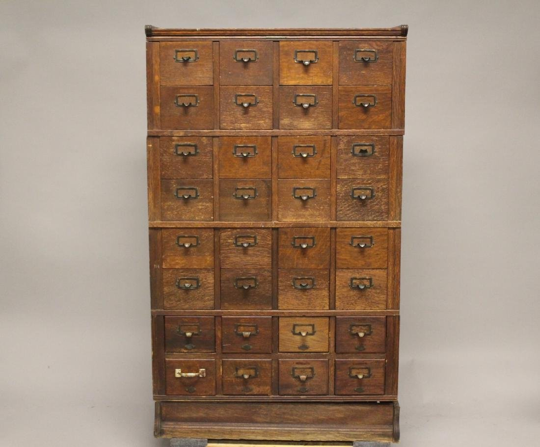 Early American Oak Index File Cabinet
