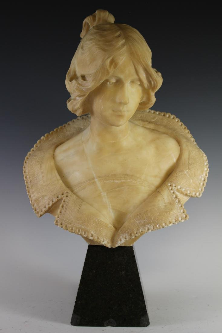 Victorian Carved Alabaster Bust of Woman