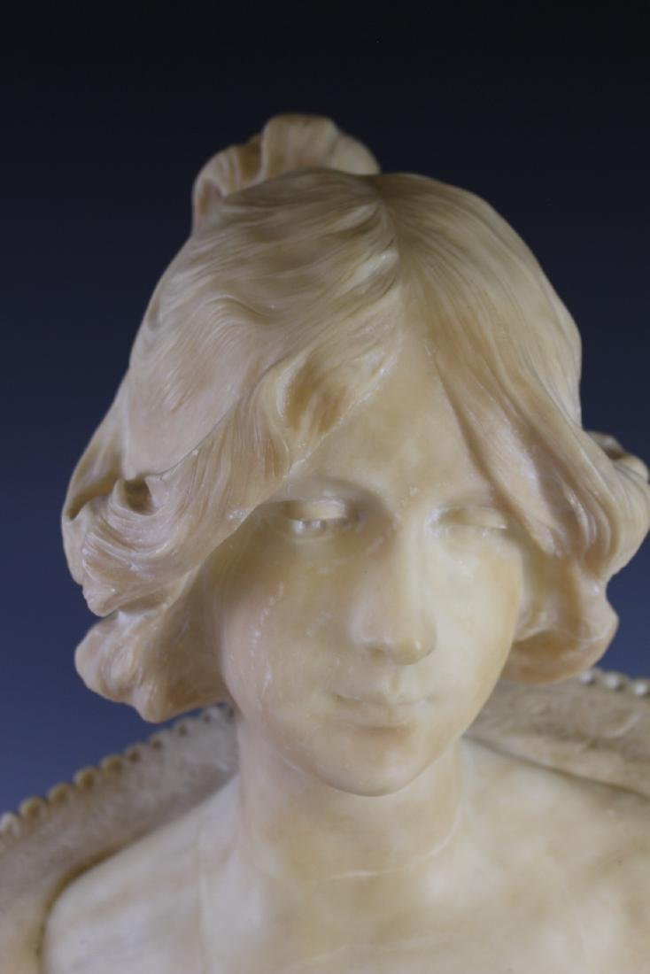 Victorian Carved Alabaster Bust of Woman - 2