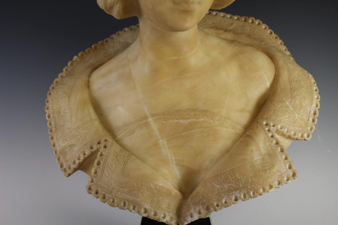 Victorian Carved Alabaster Bust of Woman - 3