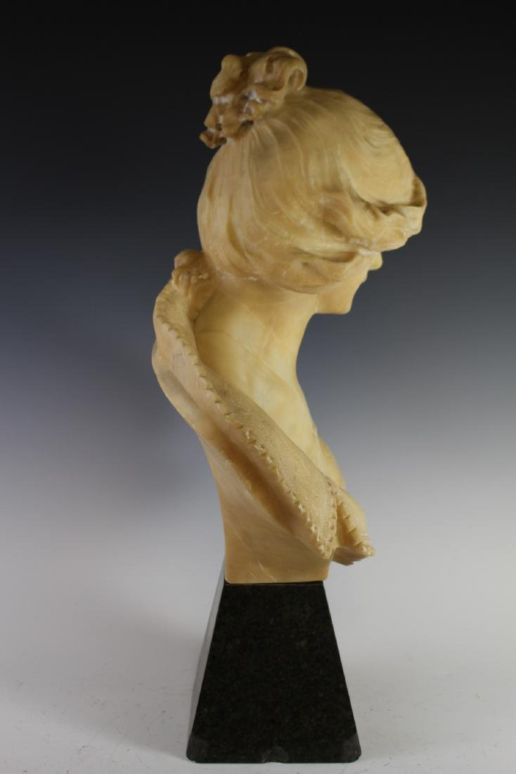 Victorian Carved Alabaster Bust of Woman - 4