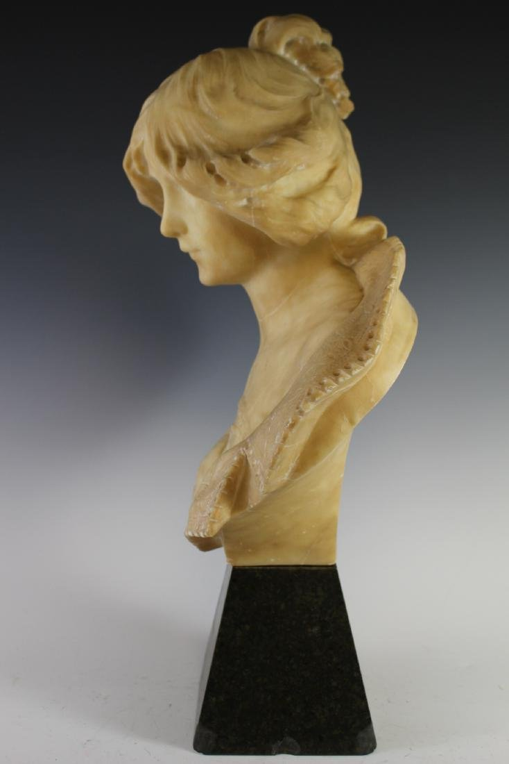 Victorian Carved Alabaster Bust of Woman - 7
