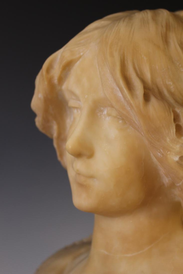 Victorian Carved Alabaster Bust of Woman - 8