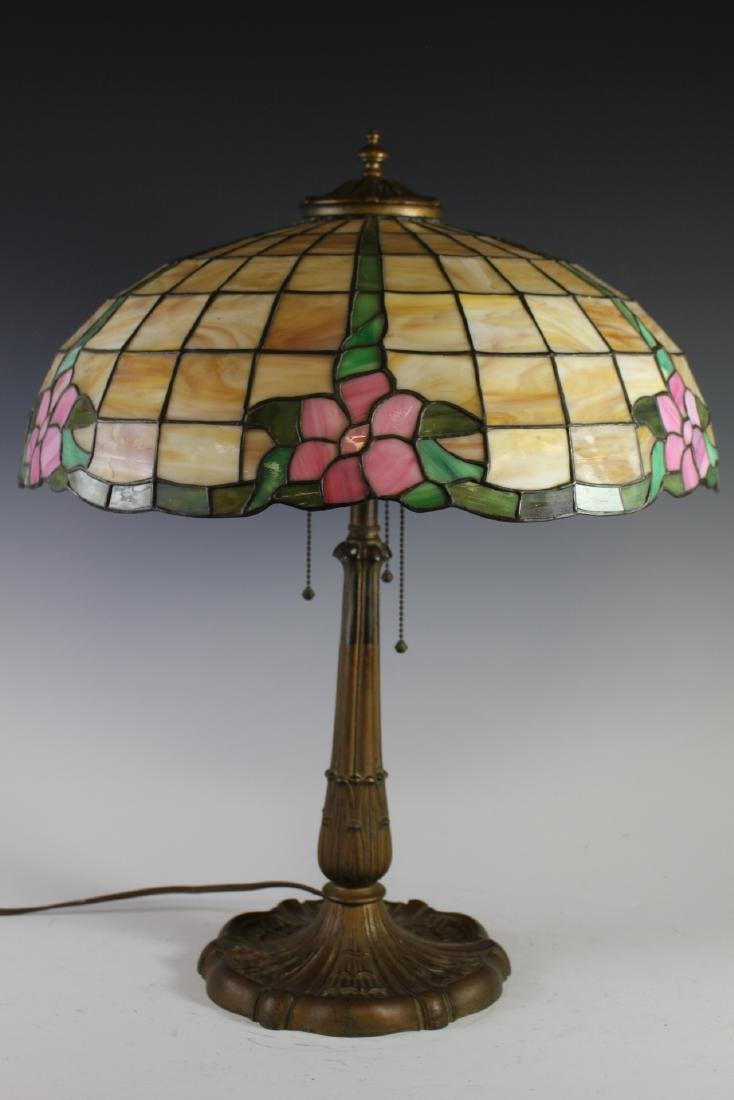 E. Miller Signed Leaded Lamp