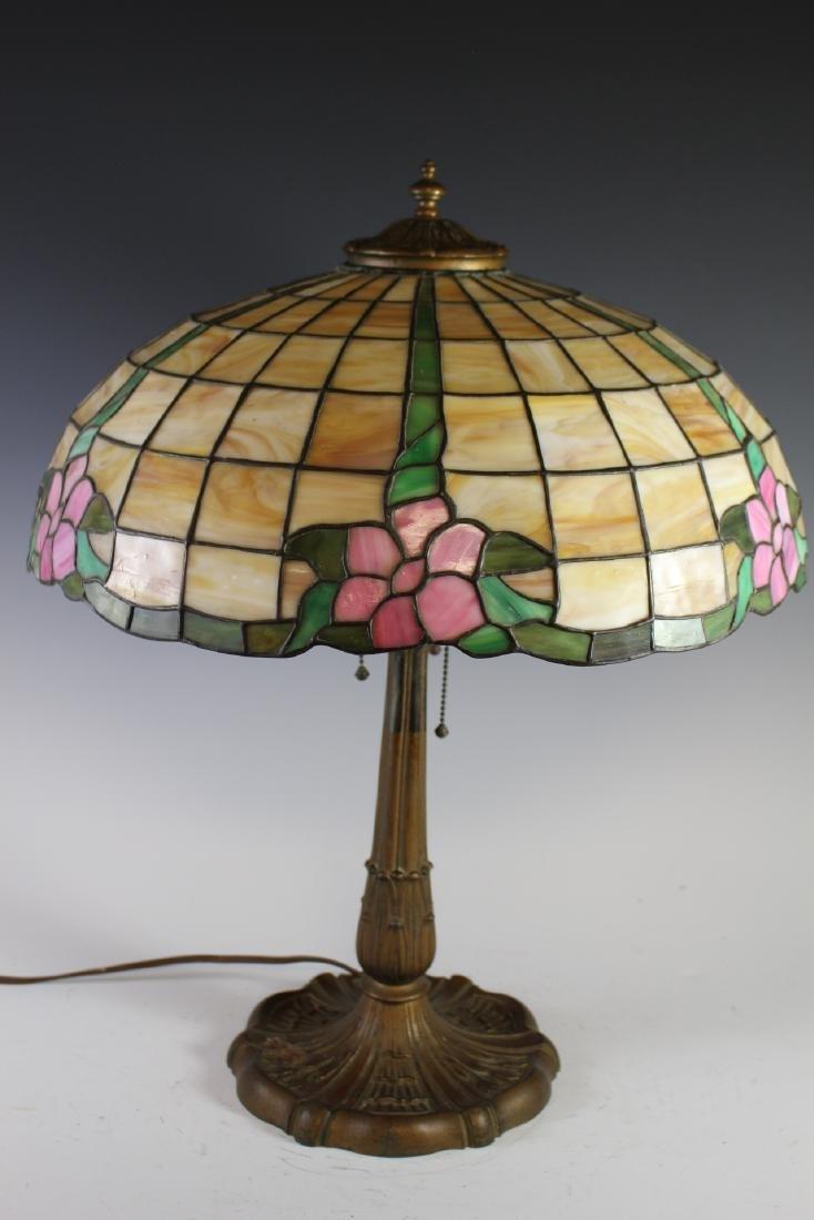 E. Miller Signed Leaded Lamp - 2