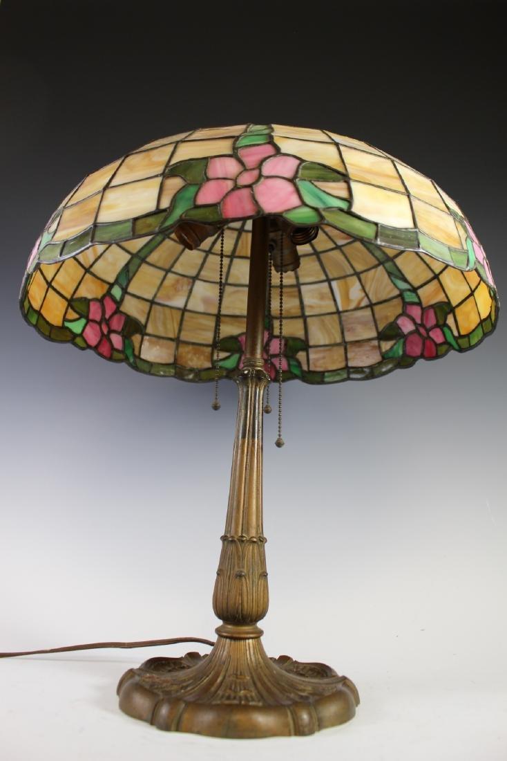 E. Miller Signed Leaded Lamp - 5