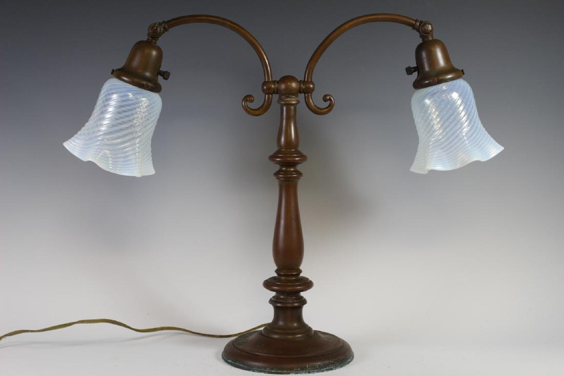 Signed Handel Double Student Lamp