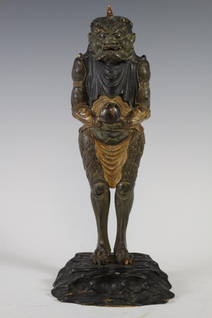 18Th C Edo Polychrome Japanese Oni Devil Statue