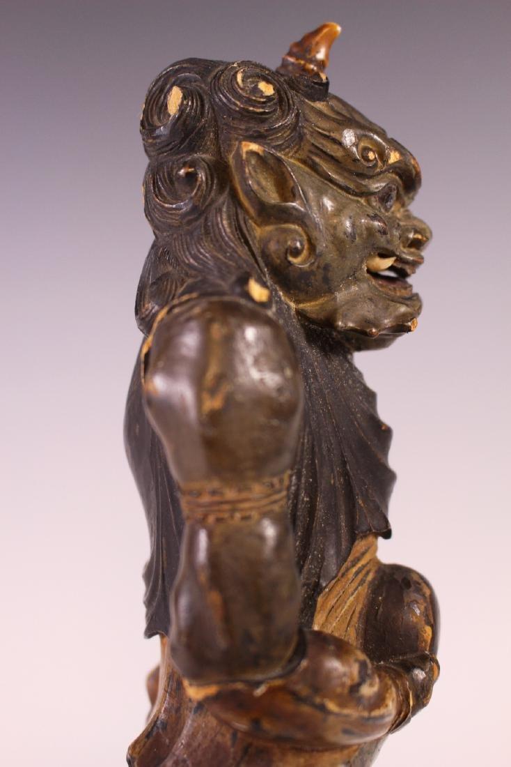 18Th C Edo Polychrome Japanese Oni Devil Statue - 5