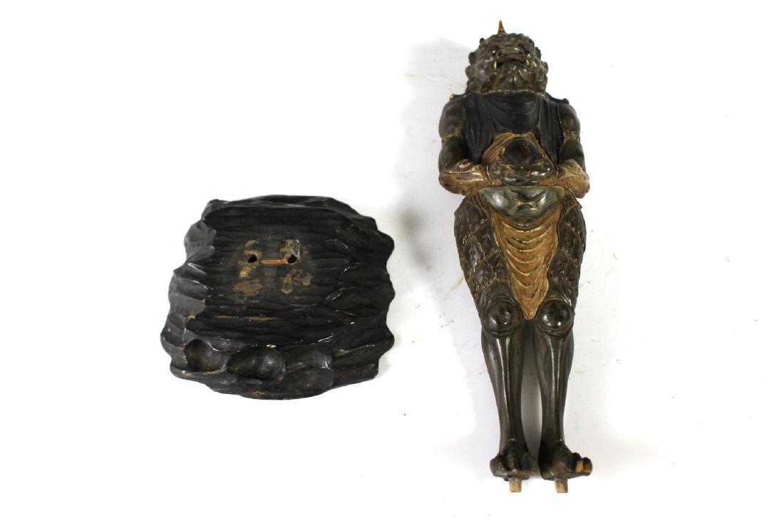 18Th C Edo Polychrome Japanese Oni Devil Statue - 9