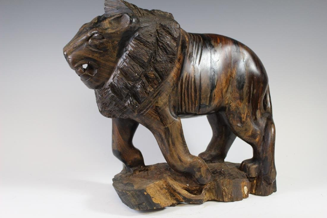 Carved Rosewood African Lion