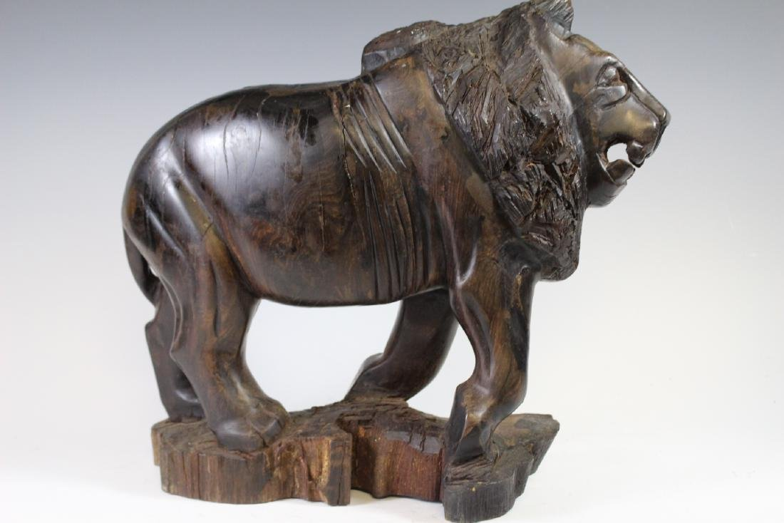 Carved Rosewood African Lion - 3