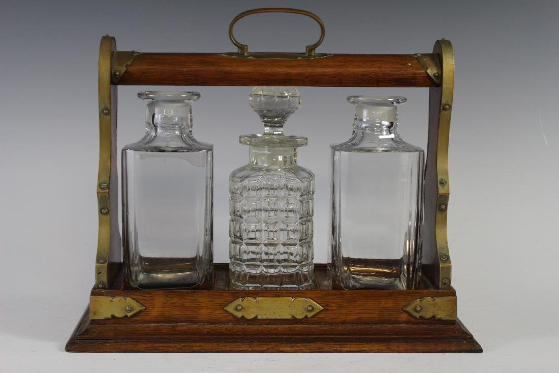 Oak Tantalus Decanter Bottle Set